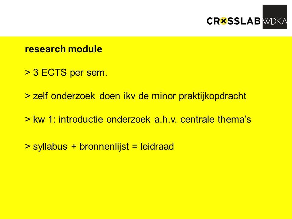 doel: - het kunnen doen van onderzoek (beeld, literatuur, bronnen, desk / veldonderzoek, case-studies) - deze kennis kunnen toepassen i.k.v.