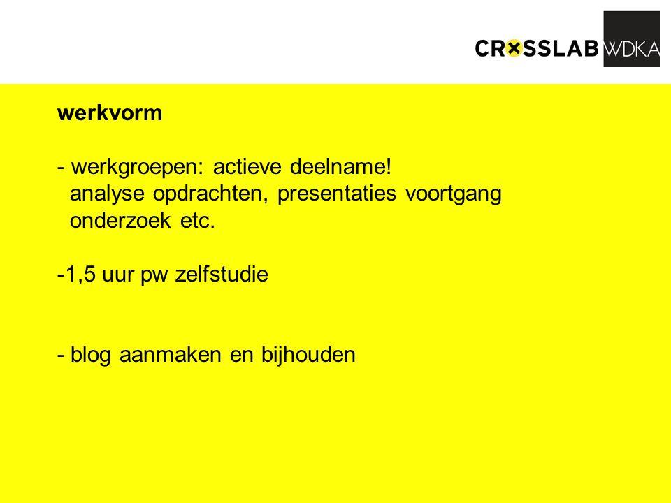 werkvorm - werkgroepen: actieve deelname! analyse opdrachten, presentaties voortgang onderzoek etc. -1,5 uur pw zelfstudie - blog aanmaken en bijhoude