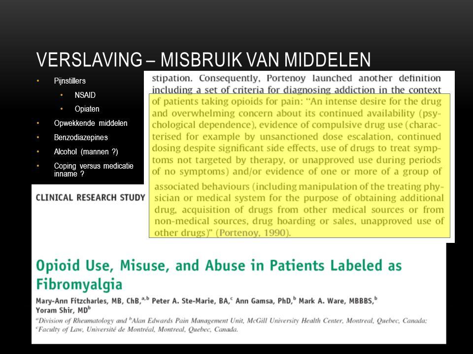 VERSLAVING – MISBRUIK VAN MIDDELEN Pijnstillers NSAID Opiaten Opwekkende middelen Benzodiazepines Alcohol (mannen ?) Coping versus medicatie inname ?
