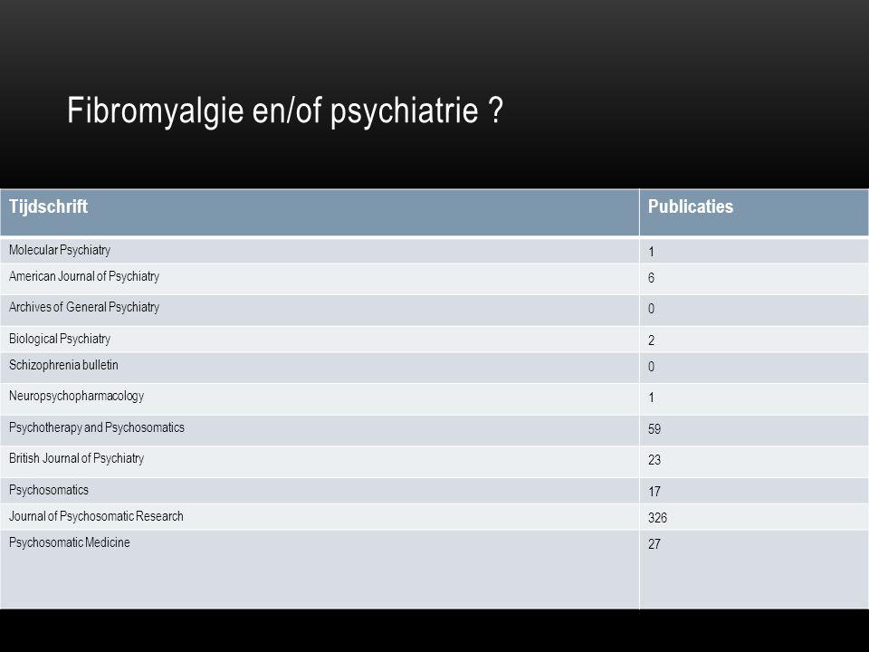Fibromyalgie en/of psychiatrie ? TijdschriftPublicaties Molecular Psychiatry 1 American Journal of Psychiatry 6 Archives of General Psychiatry 0 Biolo