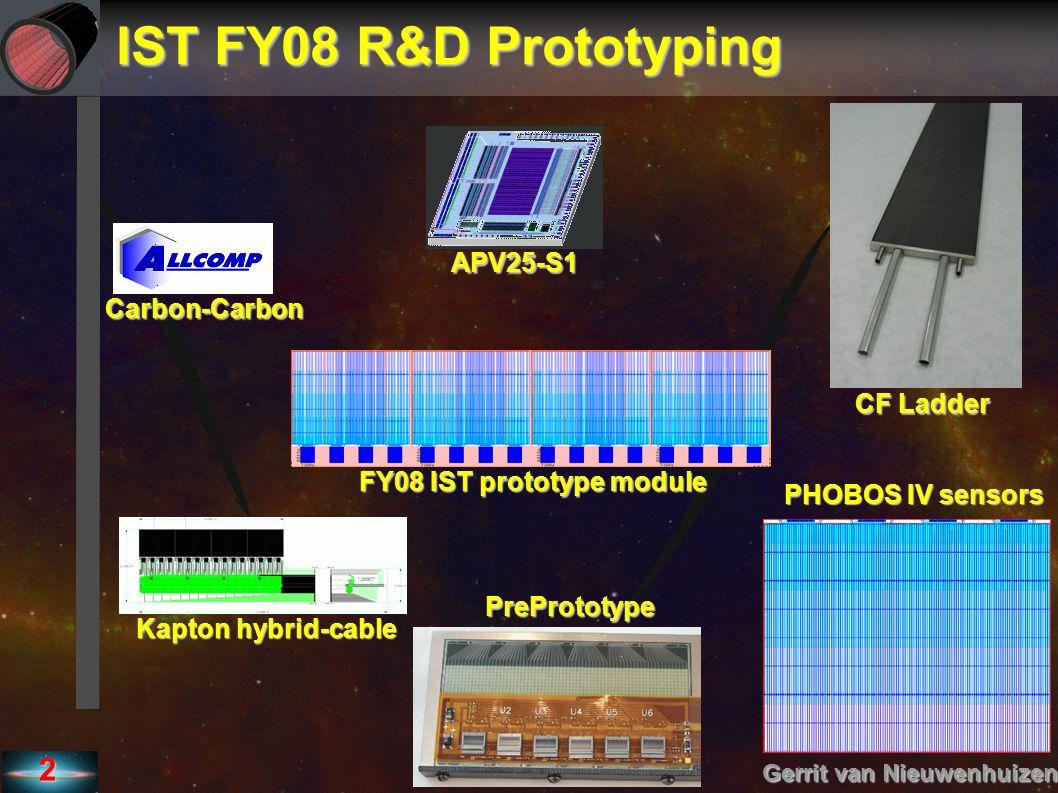 2 IST FY08 R&D Prototyping Gerrit van Nieuwenhuizen APV25-S1 CF Ladder PHOBOS IV sensors PrePrototype Kapton hybrid-cable Carbon-Carbon FY08 IST proto