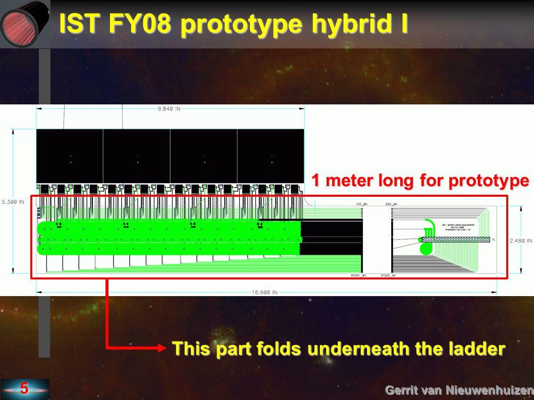 IST FY08 prototype hybrid II Gerrit van Nieuwenhuizen 6 1/2mil K + 1mil Glue + 17um Cu + 1mil K + 1mil Glue + 1/2mil K → 0.07 %Xo + 0.12 %Xo → ~ 0.2 %Xo → 0.07 %Xo + 0.12 %Xo → ~ 0.2 %Xo