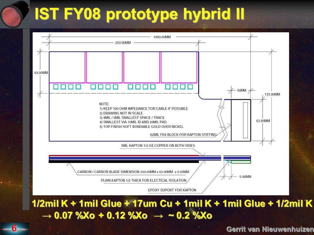 IST FY08 prototype hybrid II Gerrit van Nieuwenhuizen 6 1/2mil K + 1mil Glue + 17um Cu + 1mil K + 1mil Glue + 1/2mil K → 0.07 %Xo + 0.12 %Xo → ~ 0.2 %