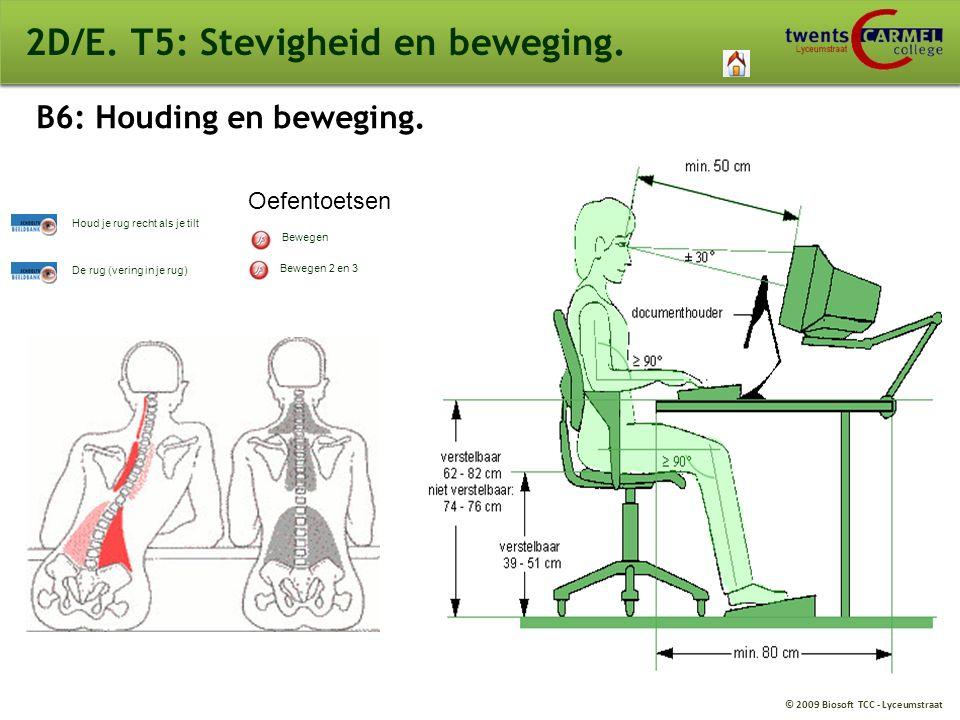 © 2009 Biosoft TCC - Lyceumstraat 2D/E. T5: Stevigheid en beweging. B6: Houding en beweging. Bewegen Bewegen 2 en 3 De rug (vering in je rug) Houd je