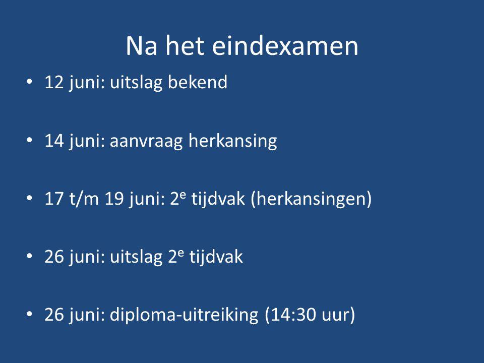 Na het eindexamen 12 juni: uitslag bekend 14 juni: aanvraag herkansing 17 t/m 19 juni: 2 e tijdvak (herkansingen) 26 juni: uitslag 2 e tijdvak 26 juni