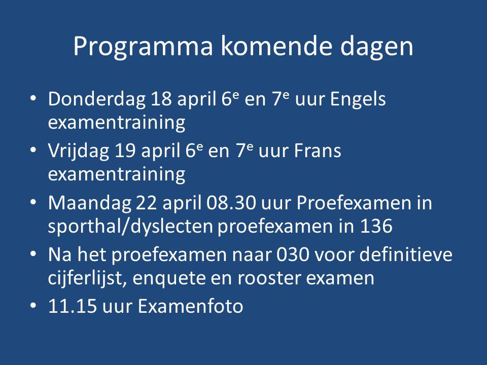 Programma komende dagen Donderdag 18 april 6 e en 7 e uur Engels examentraining Vrijdag 19 april 6 e en 7 e uur Frans examentraining Maandag 22 april