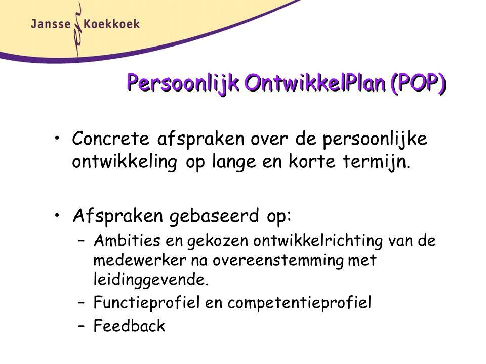 Persoonlijk OntwikkelPlan (POP) Concrete afspraken over de persoonlijke ontwikkeling op lange en korte termijn.
