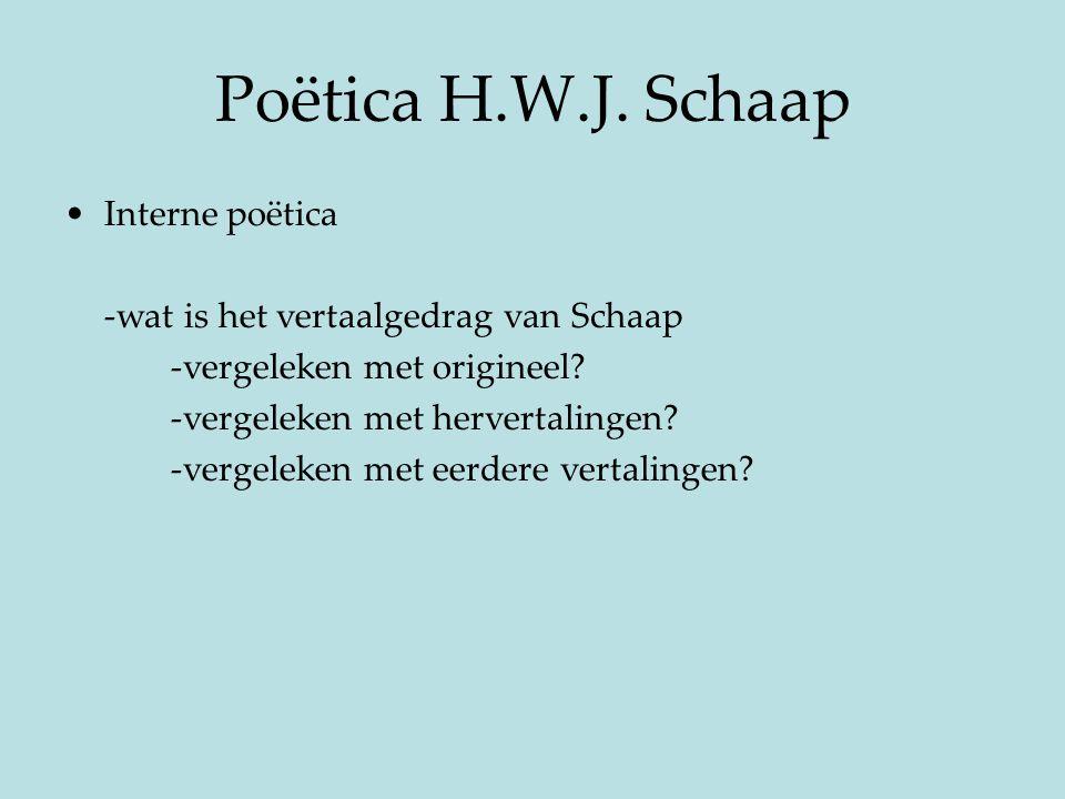 Poëtica H.W.J. Schaap Interne poëtica -wat is het vertaalgedrag van Schaap -vergeleken met origineel? -vergeleken met hervertalingen? -vergeleken met