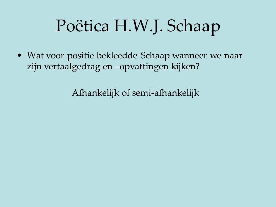 Poëtica H.W.J. Schaap Wat voor positie bekleedde Schaap wanneer we naar zijn vertaalgedrag en –opvattingen kijken? Afhankelijk of semi-afhankelijk