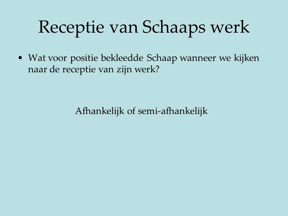 Receptie van Schaaps werk Wat voor positie bekleedde Schaap wanneer we kijken naar de receptie van zijn werk? Afhankelijk of semi-afhankelijk