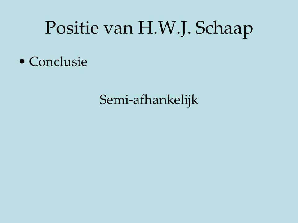 Positie van H.W.J. Schaap Conclusie Semi-afhankelijk