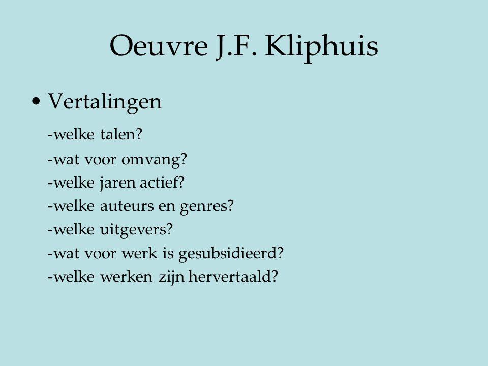 Oeuvre J.F. Kliphuis Vertalingen -welke talen? -wat voor omvang? -welke jaren actief? -welke auteurs en genres? -welke uitgevers? -wat voor werk is ge