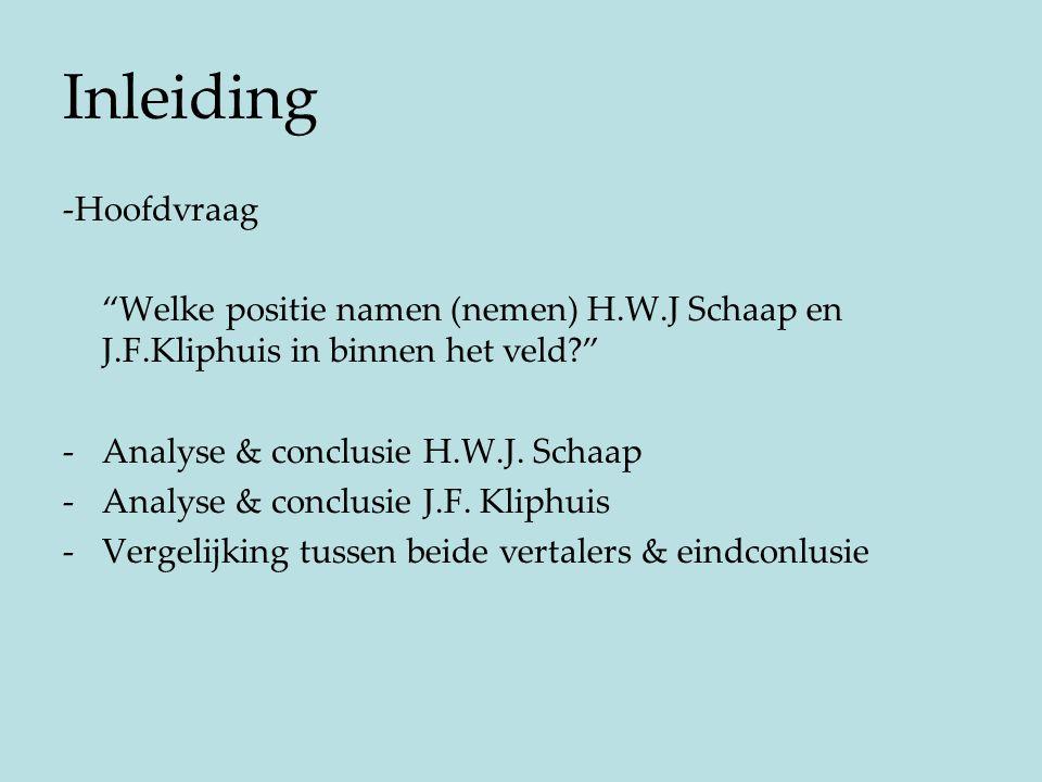 """Inleiding -Hoofdvraag """"Welke positie namen (nemen) H.W.J Schaap en J.F.Kliphuis in binnen het veld?"""" -Analyse & conclusie H.W.J. Schaap -Analyse & con"""