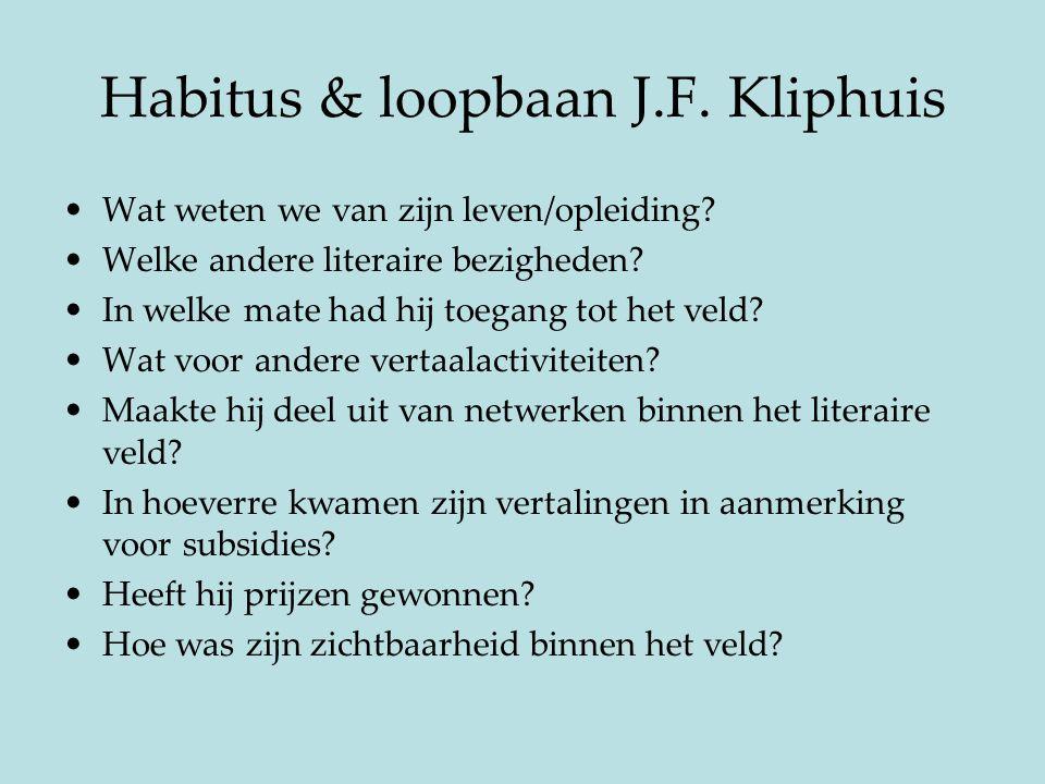 Habitus & loopbaan J.F. Kliphuis Wat weten we van zijn leven/opleiding? Welke andere literaire bezigheden? In welke mate had hij toegang tot het veld?