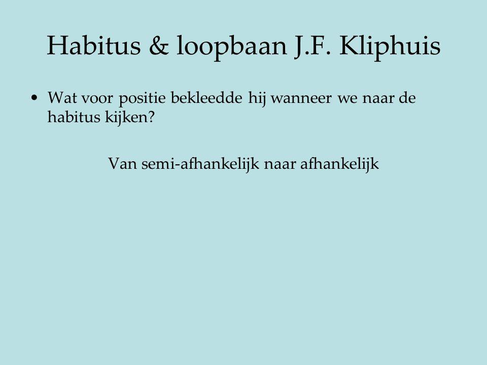 Habitus & loopbaan J.F. Kliphuis Wat voor positie bekleedde hij wanneer we naar de habitus kijken? Van semi-afhankelijk naar afhankelijk