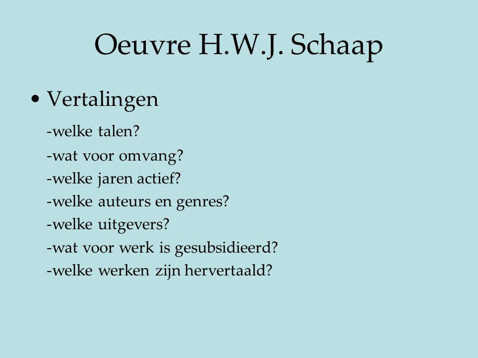 Oeuvre H.W.J. Schaap Vertalingen -welke talen? -wat voor omvang? -welke jaren actief? -welke auteurs en genres? -welke uitgevers? -wat voor werk is ge