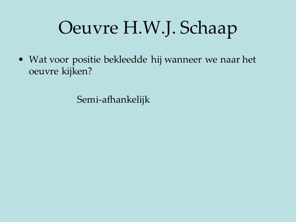 Oeuvre H.W.J. Schaap Wat voor positie bekleedde hij wanneer we naar het oeuvre kijken? Semi-afhankelijk