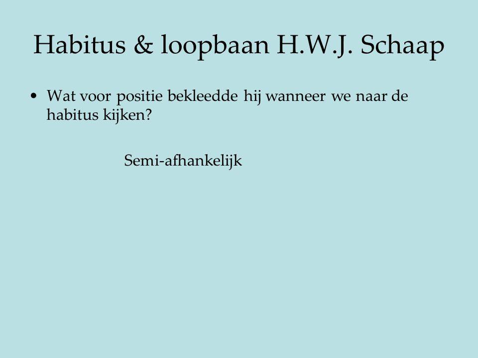 Habitus & loopbaan H.W.J. Schaap Wat voor positie bekleedde hij wanneer we naar de habitus kijken? Semi-afhankelijk