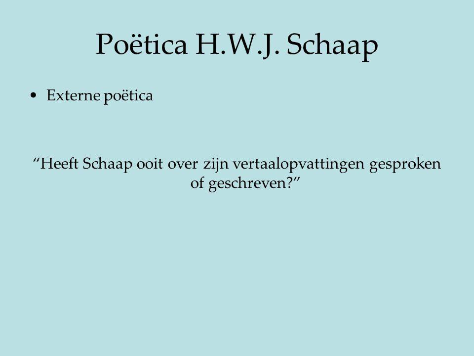 """Poëtica H.W.J. Schaap Externe poëtica """"Heeft Schaap ooit over zijn vertaalopvattingen gesproken of geschreven?"""""""