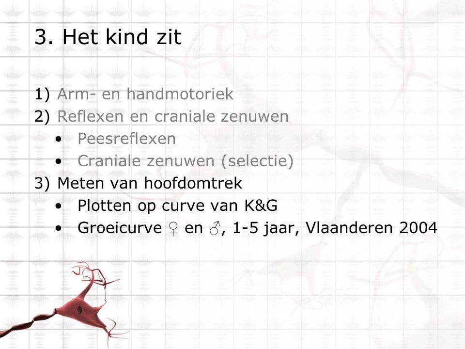 3. Het kind zit 1)Arm- en handmotoriek 2)Reflexen en craniale zenuwen Peesreflexen Craniale zenuwen (selectie) 3)Meten van hoofdomtrek Plotten op curv
