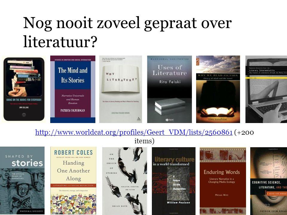 Nog nooit zoveel gepraat over literatuur? http://www.worldcat.org/profiles/Geert_VDM/lists/2560861http://www.worldcat.org/profiles/Geert_VDM/lists/256