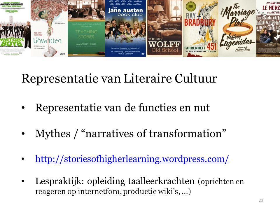 """Representatie van Literaire Cultuur Representatie van de functies en nut Mythes / """"narratives of transformation"""" http://storiesofhigherlearning.wordpr"""