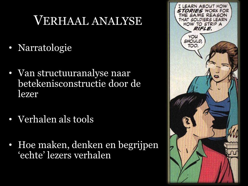 V ERHAAL ANALYSE Narratologie Van structuuranalyse naar betekenisconstructie door de lezer Verhalen als tools Hoe maken, denken en begrijpen 'echte' l