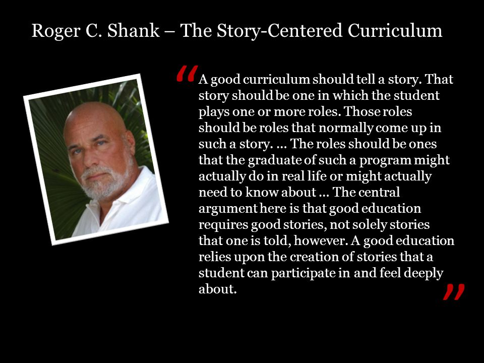 A good curriculum should tell a story.