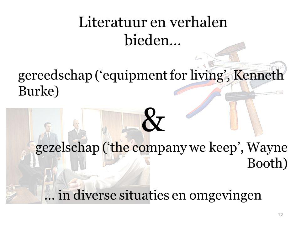 Literatuur en verhalen bieden… gereedschap ('equipment for living', Kenneth Burke) & gezelschap ('the company we keep', Wayne Booth) … in diverse situ