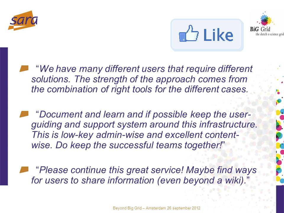 Beyond Big Grid – Amsterdam 26 september 2012 We have many different users that require different solutions.