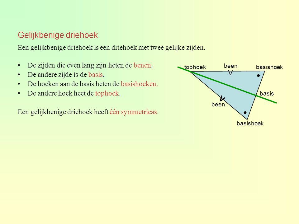 Gelijkbenige driehoek Een gelijkbenige driehoek is een driehoek met twee gelijke zijden. De zijden die even lang zijn heten de benen. De andere zijde