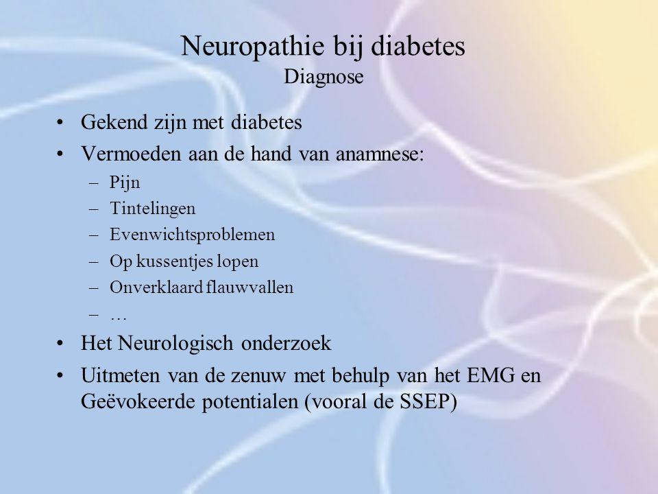Neuropathie bij diabetes Diagnose Gekend zijn met diabetes Vermoeden aan de hand van anamnese: –Pijn –Tintelingen –Evenwichtsproblemen –Op kussentjes