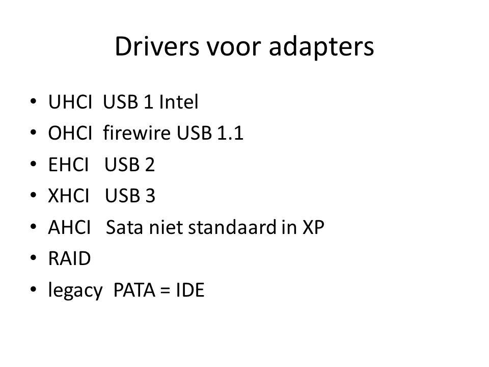 Drivers voor adapters UHCI USB 1 Intel OHCI firewire USB 1.1 EHCI USB 2 XHCI USB 3 AHCI Sata niet standaard in XP RAID legacy PATA = IDE