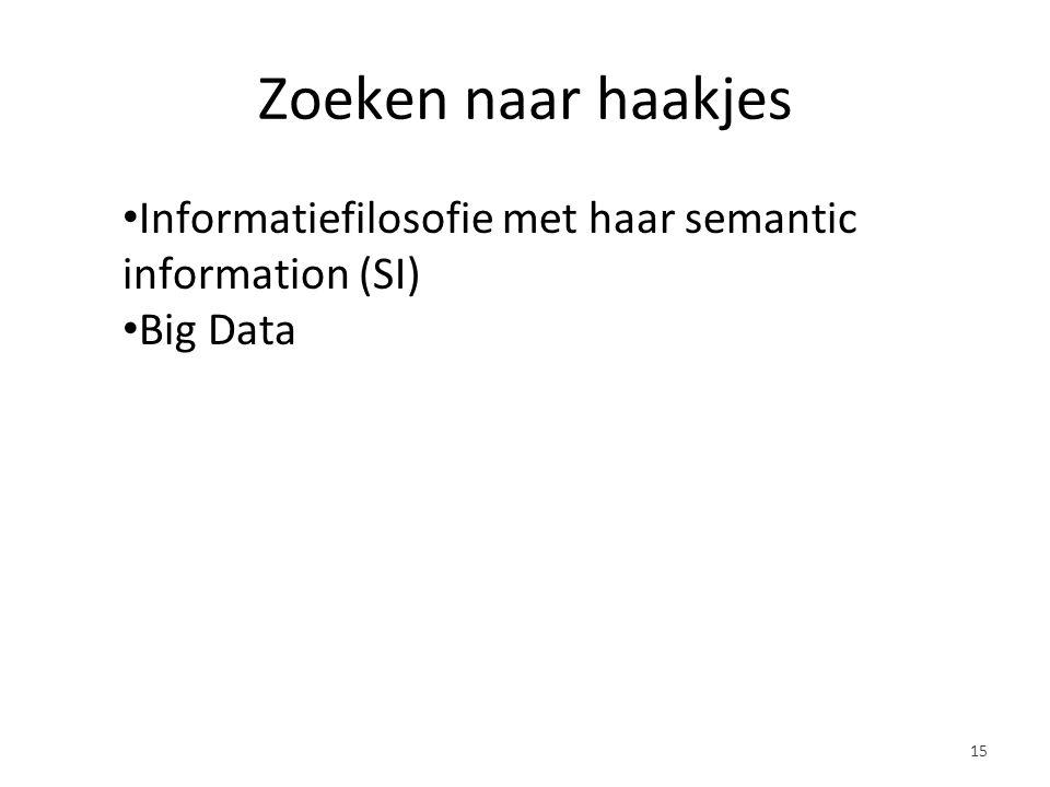 Zoeken naar haakjes Informatiefilosofie met haar semantic information (SI) Big Data 15