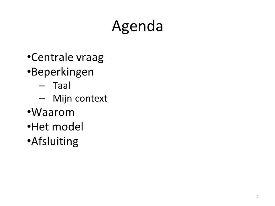 Agenda Centrale vraag Beperkingen – Taal – Mijn context Waarom Het model Afsluiting 4