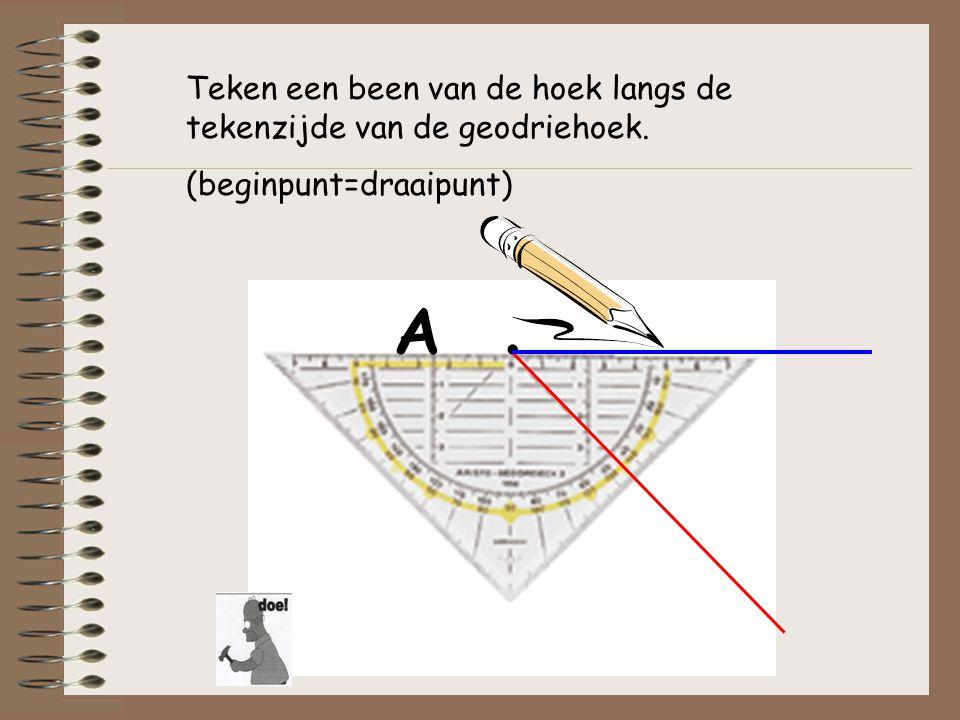 Teken een been van de hoek langs de tekenzijde van de geodriehoek. (beginpunt=draaipunt)