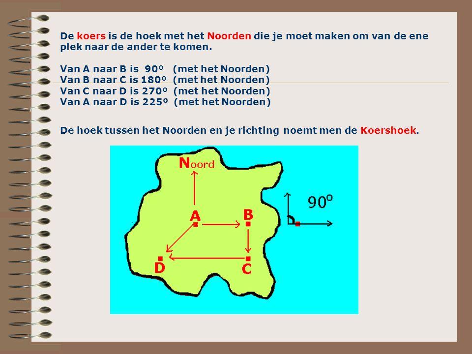 De koers is de hoek met het Noorden die je moet maken om van de ene plek naar de ander te komen. Van A naar B is 90º (met het Noorden) Van B naar C is