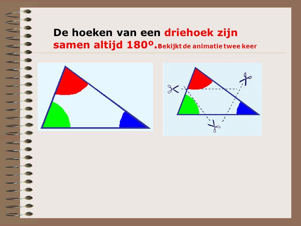 De hoeken van een driehoek zijn samen altijd 180º. Bekijkt de animatie twee keer