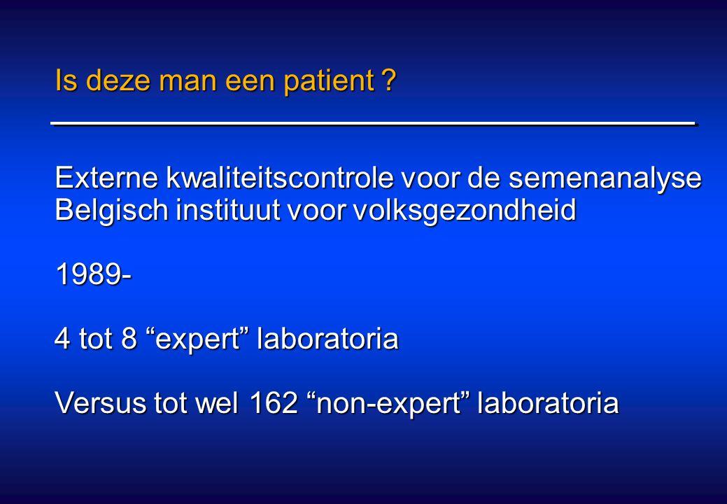 """Is deze man een patient ? Externe kwaliteitscontrole voor de semenanalyse Belgisch instituut voor volksgezondheid 1989- 4 tot 8 """"expert"""" laboratoria V"""