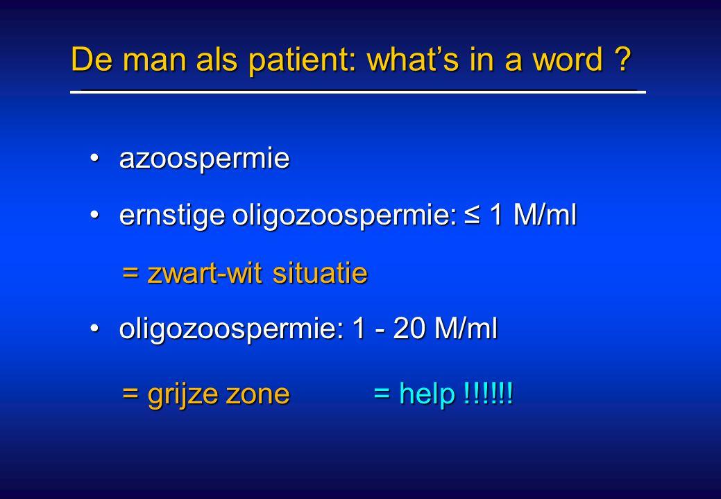 De man als patient: what's in a word ? azoospermie azoospermie ernstige oligozoospermie: ≤ 1 M/ml ernstige oligozoospermie: ≤ 1 M/ml oligozoospermie: