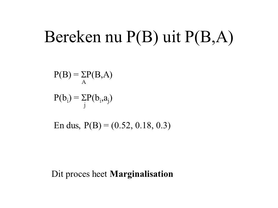 Bereken nu P(B) uit P(B,A) Dit proces heet Marginalisation P(B) =  P(B,A) A P(b i ) =  P(b i,a j ) j En dus, P(B) = (0.52, 0.18, 0.3)