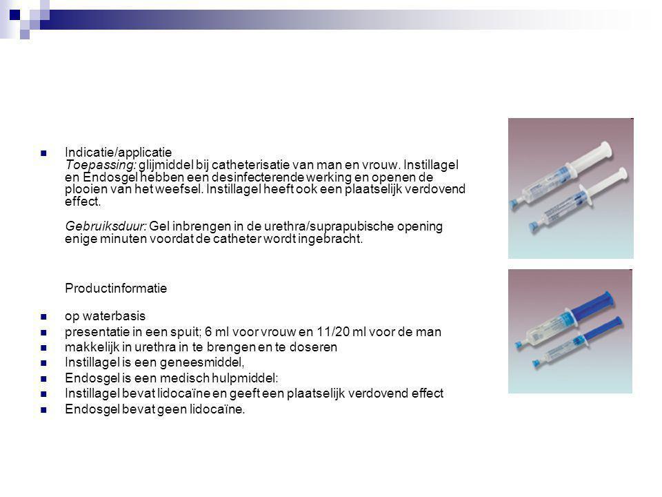 Indicatie/applicatie Toepassing: glijmiddel bij catheterisatie van man en vrouw. Instillagel en Endosgel hebben een desinfecterende werking en openen