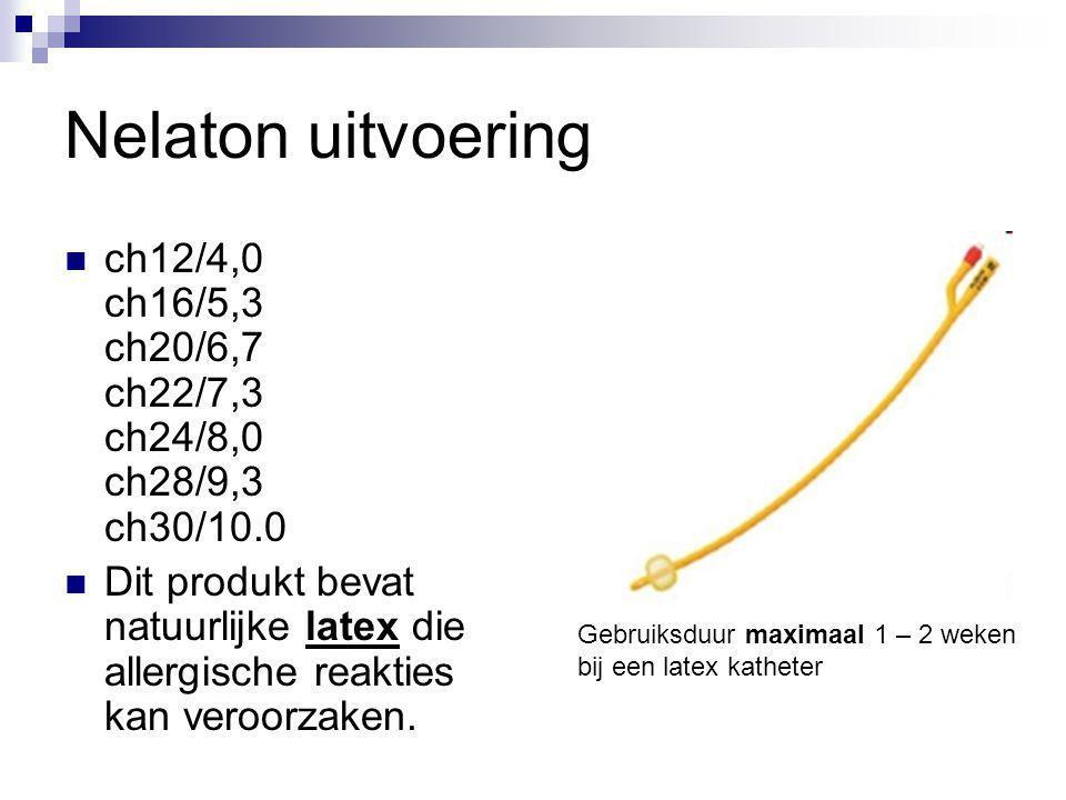 Nelaton uitvoering ch12/4,0 ch16/5,3 ch20/6,7 ch22/7,3 ch24/8,0 ch28/9,3 ch30/10.0 Dit produkt bevat natuurlijke latex die allergische reakties kan ve