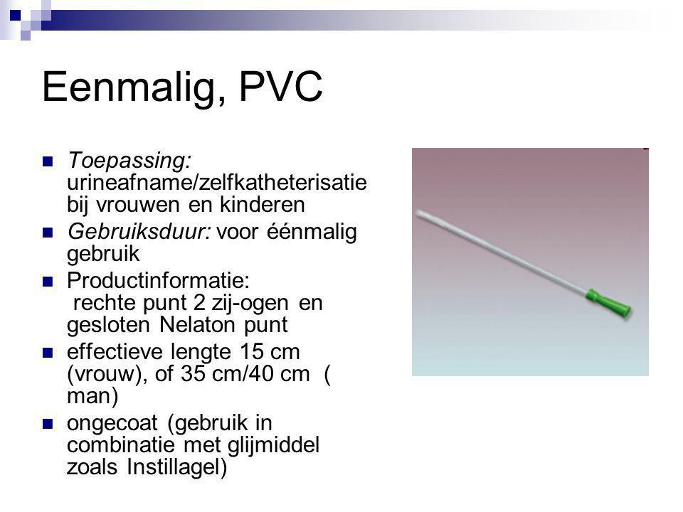 Eenmalig, PVC Toepassing: urineafname/zelfkatheterisatie bij vrouwen en kinderen Gebruiksduur: voor éénmalig gebruik Productinformatie: rechte punt 2
