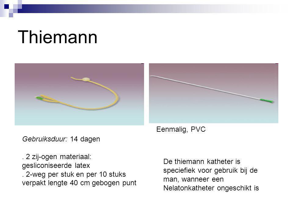 Thiemann Eenmalig, PVC De thiemann katheter is speciefiek voor gebruik bij de man, wanneer een Nelatonkatheter ongeschikt is Gebruiksduur: 14 dagen. 2