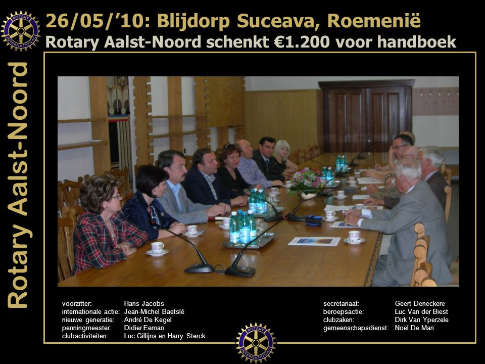 Rotary Aalst-Noord voorzitter:Hans Jacobs secretariaat:Geert Deneckere internationale actie: Jean-Michel Baetslé beroepsactie:Luc Van der Biest nieuwe