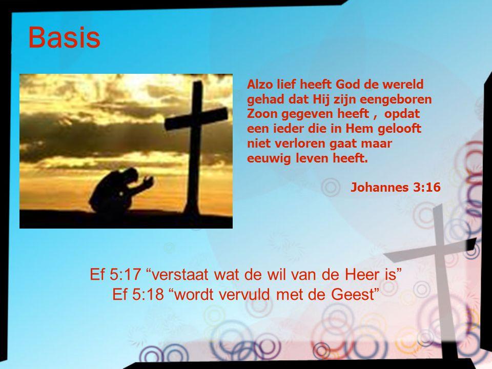 """Basis Ef 5:17 """"verstaat wat de wil van de Heer is"""" Ef 5:18 """"wordt vervuld met de Geest"""" Alzo lief heeft God de wereld gehad dat Hij zijn eengeboren Zo"""