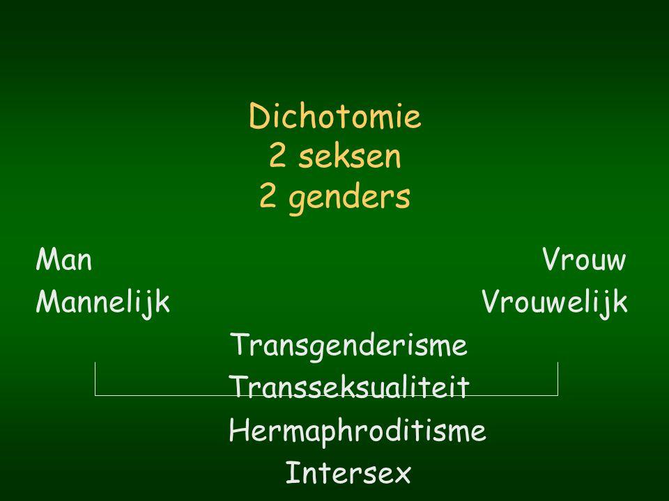 Onderscheid tussen sekse en gender Sekse Biologische aspecten van man of vrouw zijn Biologie Gender Psychosociale bovenbouw Psychologie Sociale wetenschappen