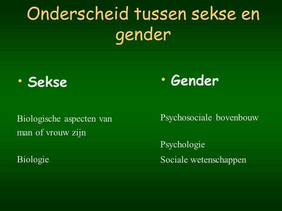 Gender Duidt de psychologische, culturele en sociale verschillen aan tussen vrouwen en mannen Maatschappelijk construct Grote variatie van plaats tot plaats van tijd tot tijd van cultuur tot cultuur