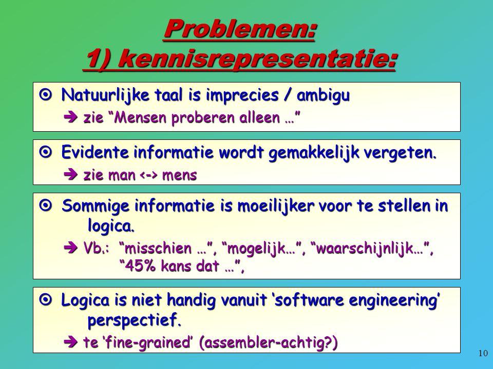 """10 Problemen: 1) kennisrepresentatie:  Natuurlijke taal is imprecies / ambigu  zie """"Mensen proberen alleen …""""  Evidente informatie wordt gemakkelij"""